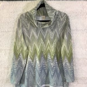 Chico's Cowl Neck Gray and Green Sweater